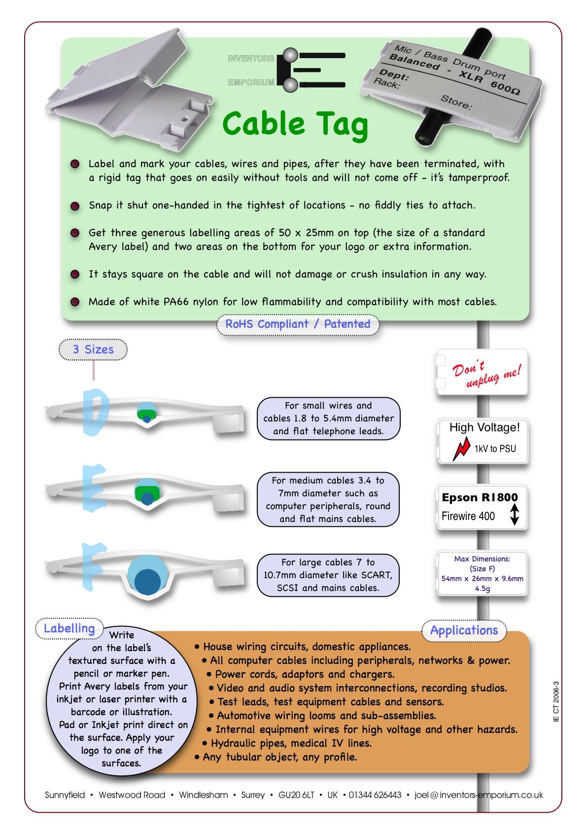 Cable Identification Tags : Inventors emporium home